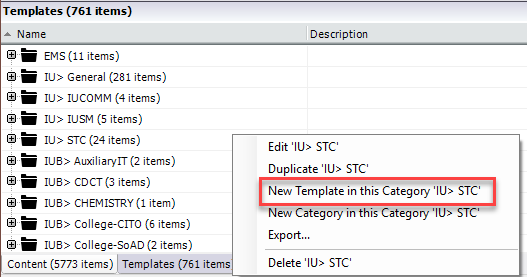 right click to create a category in the template library