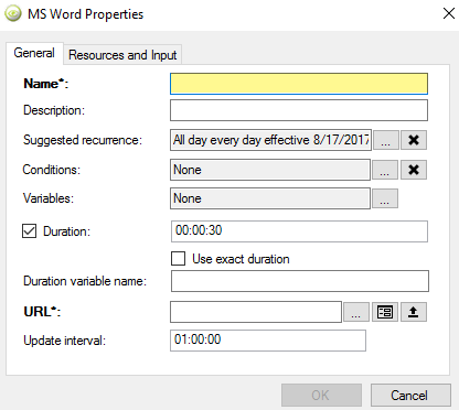 name field for microsoft office content wilndow